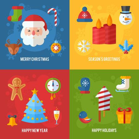 velas de navidad: tarjetas de Navidad de felicitación o invitación y pancartas con elementos planos de invierno - Papá, ciervos, galleta de jengibre, almacenamiento, árbol de Navidad, copos de nieve