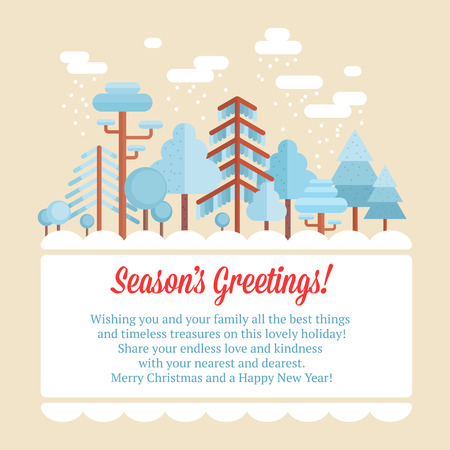Flat forest scene card with trees and wood scenery and Christmas congratulation card Ilustrace