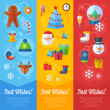 christmas cookie: Christmas greeting or invitation cards and banners with flat winter elements - Santa, deer, gingerbread cookie, stocking, xmas tree, snowflakes