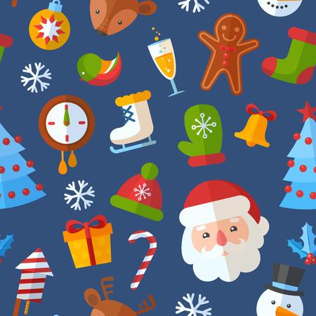 Christmas seamless pattern with flat winter elements - Santa, deer, gingerbread cookie, stocking, xmas tree, snowflakes Ilustração