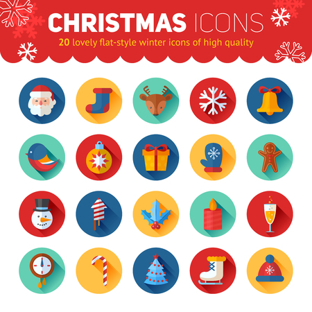 snowman: Circle flat Christmas and New Year icons set with Santa, deer, snowman, xmas tree, gifts and other holiday items