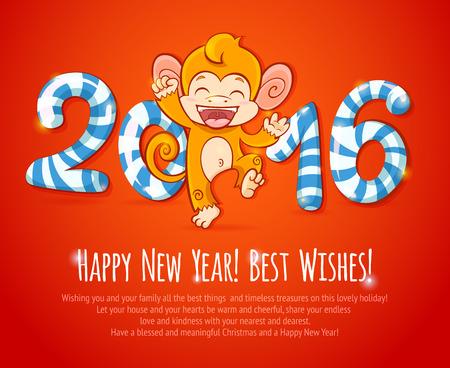 mono caricatura: A�o Nuevo chino celebraci�n con el mono lindo de dibujos animados - el s�mbolo del a�o 2016