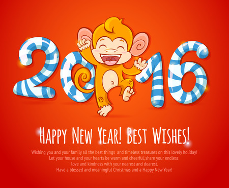 happy new year: New year chinese celebration card with cute cartoon monkey - the symbol of 2016 year