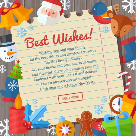 estaciones del año: tarjetas de Navidad de felicitación o invitación y pancartas con elementos planos de invierno - Papá, ciervos, galleta de jengibre, almacenamiento, árbol de Navidad, copos de nieve
