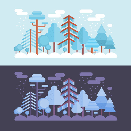 forest wood: Flat forest scene with trees and wood scenery with day and night location template Illustration