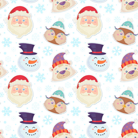 retro cartoon: Cute Christmas seamless pattern with characters heads of  smiling snowman, white polar bear, cute owl and santa claus in winter hats Illustration
