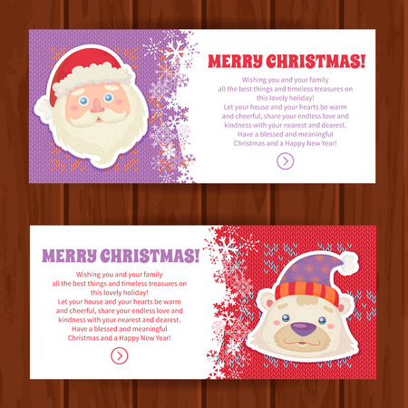 cartoon banner: Cute Christmas characters greeting cards with white polar bear and santa claus in winter hats