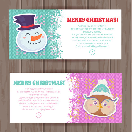 christmas owl: Cute Christmas characters greeting cards with smiling snowman, cute owl Illustration