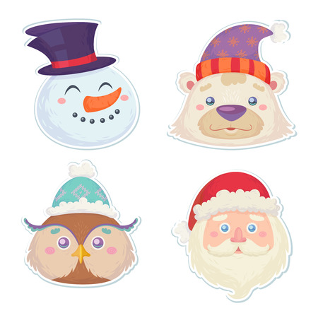 cute bear: Cute Christmas characters, head stickers of smiling snowman, white polar bear, cute owl and santa claus in winter hats