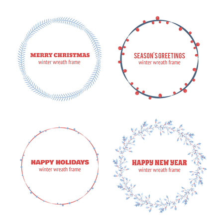 wreath collection: Decorative winter circle wreath collection for christmas invitations, frames and borders