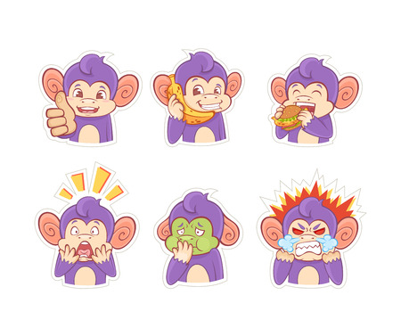 sick people: Funny cartoon monkey emotion stickers for chats, messengers and social networks