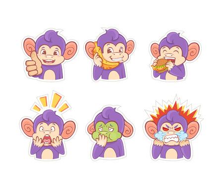 personas enfermas: pegatinas de dibujos animados emoci�n mono divertidos para los chats, mensajeros y redes sociales Vectores