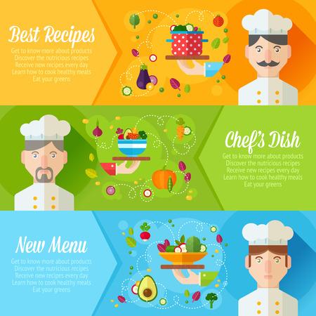레스토랑 메뉴 및 광고에 대한 평면 요리와 요리사 초상화와 야채 요리 아이콘, 개념 배너의 집합