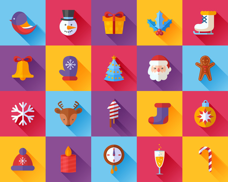 Flat Christmas and New Year icons set with Santa, deer, snowman, xmas tree, gifts and other holiday items