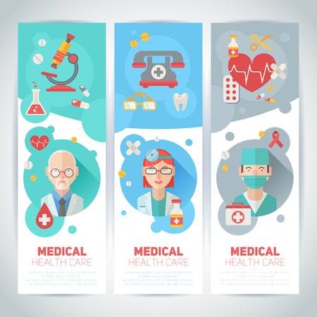 md: Medical doctors portraits on banners in trendy flat style with health care elements - emergency kit, heart, pills, cross Illustration