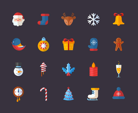 to present: Flat Christmas and New Year icons set with Santa, deer, snowman, xmas tree, gifts and other holiday items