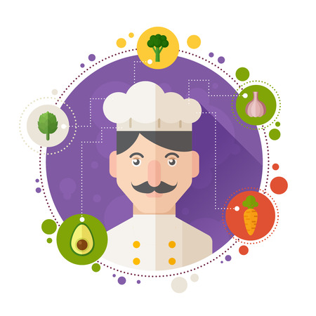 Set of concept banners with flat cook and chef portraits and vegetable dish icons for restaurant menu and advertisements