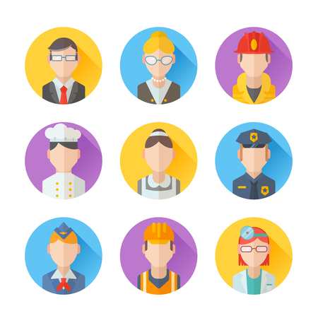 Fireman: Set of flat portraits icons with people of different professions - worker, teacher, cook, maid, businessman, doctor, policeman, stewardess, fireman Illustration