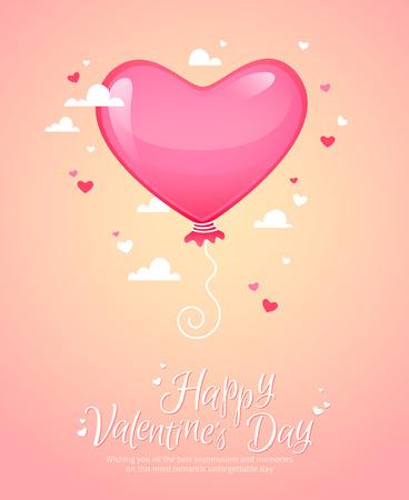 retro postcard: Romantic heart shaped air balloon retro postcard for Saint Valentines Day
