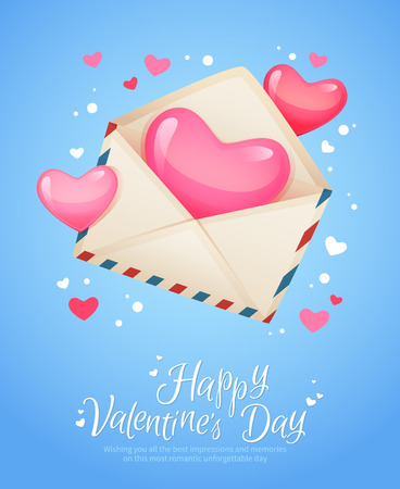 postcard: Romantic air mail letter opened envelope with hearts flying out retro postcard for Saint Valentines Day