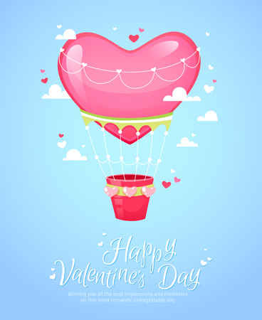 air animals: Romantic heart shaped air balloon retro postcard for Saint Valentines Day