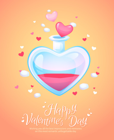 retro postcard: Romantic love potion in a heart shaped glass flask retro postcard for Saint Valentines Day