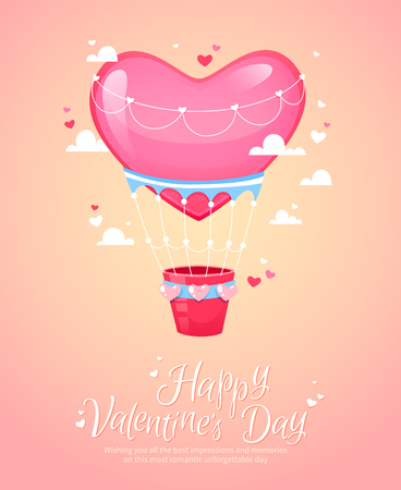saint valentines: Romantic heart shaped air balloon retro postcard for Saint Valentines Day
