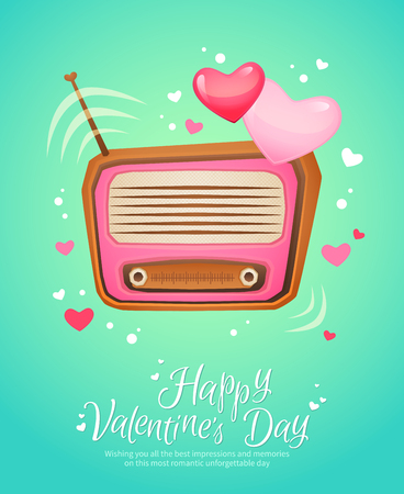 Romantic retro love radio with antenna and hearts flying out vintage postcard for Saint Valentine's Day