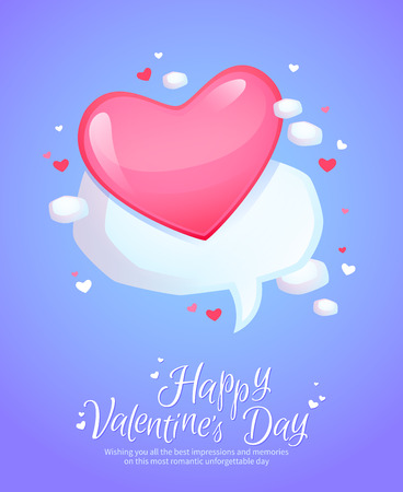 retro postcard: Romantic comic speech bubble with pink heart for love messages retro postcard for Saint Valentines Day Illustration
