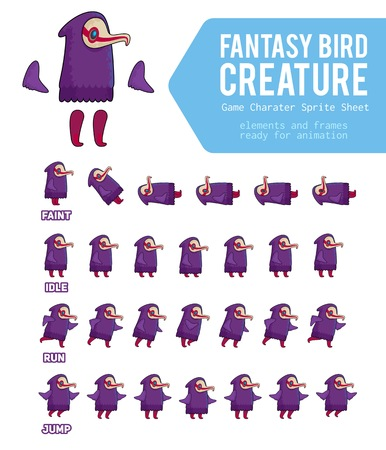 Fantasy Bird creature Game Character Sheet for side scrolling 2D games, action, adventure, hack and slash for PC computers, mobile applications and browsers, social networks.