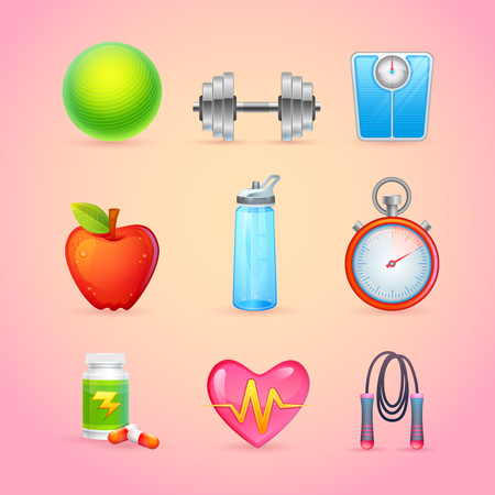 Sport and Fitness Items Realistic Icons for web design, mobile apps, games, online shops, stickers, advertisement promotional flyers