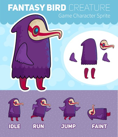 scrolling: Fantasy Bird creature Game Character Sheet for side scrolling 2D games, action, adventure, hack and slash for PC computers, mobile applications and browsers, social networks.