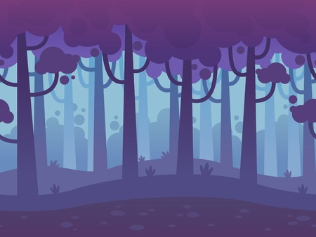 trees silhouette: Game Seamless Horizontal Forest Background for side scrolling 2D games, action, adventure, hack and slash for PC computers, mobile apps and browsers Illustration