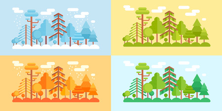 Flat Style Forest Scenery, four stylized seasons of the year in different color schemes - winter, spring, summer, fall