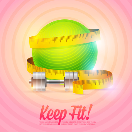 Sport and Fitness motivational poster with fitball, dumbbell and measuring tape for flyers, cards, invitations and brochures