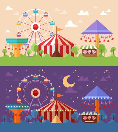Flat Retro Funfair Scenery con atracciones de diversión y carruseles en versiones de combinación de colores diurnos y nocturnos