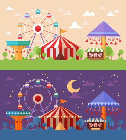 Flat Retro Funfair Scenery with amusement attractions and carousels day and night color scheme versions