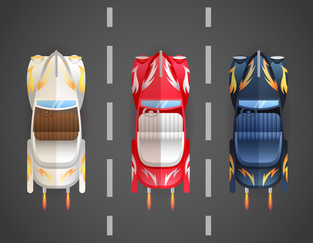 Retro Flat Cars Cabriolet Top with fire exhaust from the tailpipe, aerial view for casual racing games in vintage style