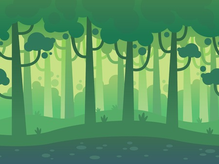 Game Seamless Horizontal Forest Background for side scrolling 2D games, action, adventure, hack and slash for PC computers, mobile apps and browsers Иллюстрация
