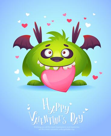 gremlin: Cute cartoon monster in love holding a pink heart romantic congratulation postcard for Saint Valentines Day