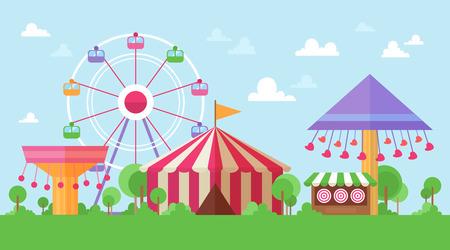 Paisaje plano retro del parque de atracciones con atracciones de diversión y carruseles en coloridos dibujos animados estilo vintage