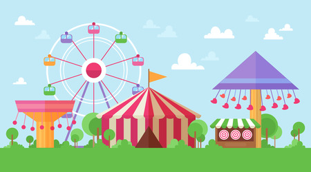 Flat Retro Funfair Scenery with amusement attractions and carousels in colorful cartoon vintage style