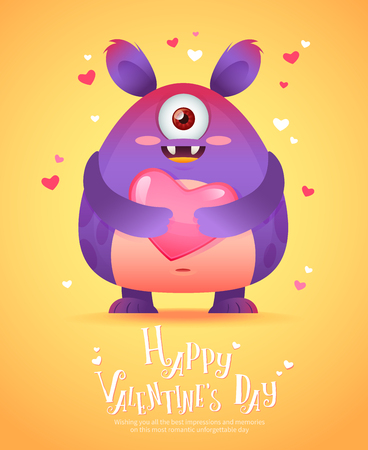 funny cartoon: Cute cartoon monster in love holding a pink heart romantic congratulation postcard for Saint Valentines Day