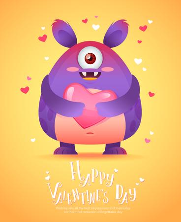 caras graciosas: monstruo de dibujos animados lindo en el amor la celebraci�n de una rom�ntica postal de felicitaci�n rosada del coraz�n para el d�a de San Valent�n