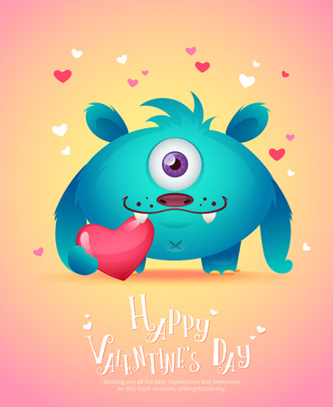 postcard background: Cute cartoon monster in love holding a pink heart romantic congratulation postcard for Saint Valentines Day