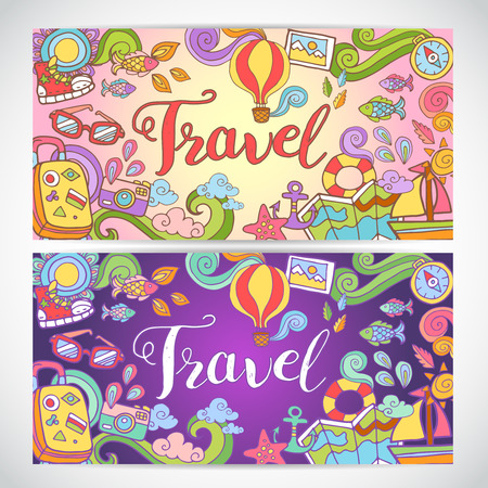 poster art: Creative hand-drawn doodle art with summer travel theme for greeting cards, invitation templates and graphic design