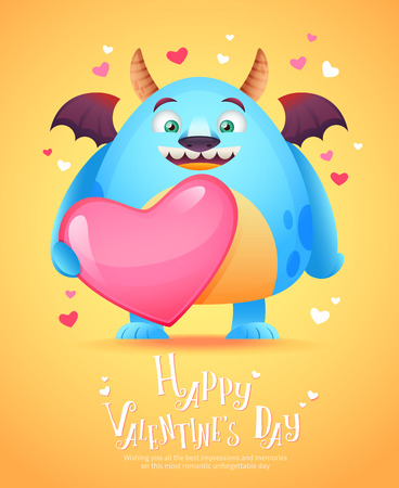 saint valentine's day: Cute cartoon monster in love holding a pink heart romantic congratulation postcard for Saint Valentines Day