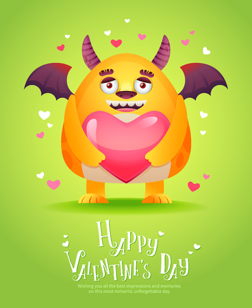 Cute cartoon monster in love holding a pink heart romantic congratulation postcard for Saint Valentines Day