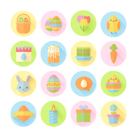 cartoon easter basket: Colorful spring Easter flat icons set with bunnies, chicken, eggs, candles, flowers for web design and postcards Illustration