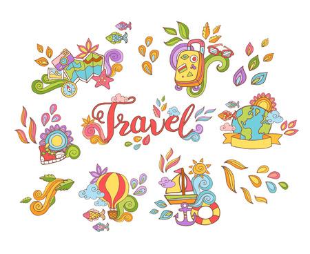 dessin fleur: main Doodle autocollant dessin� avec voyage et d'�t� des aventures articles dans un style color� isol� sur fond blanc